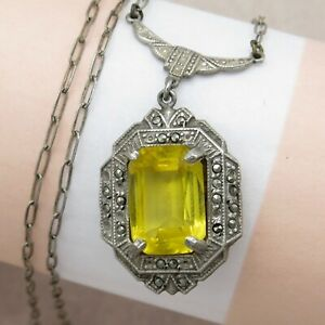 Vtg-Art-Deco-Sterling-Silver-Citrine-Glass-Paste-Marcasite-Pendant-Necklace