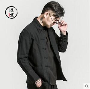 lin de coton Vintage manteaux Casual hommes style Les chinois pour vestes rétro boutonné en Tops qfnz8xwvO