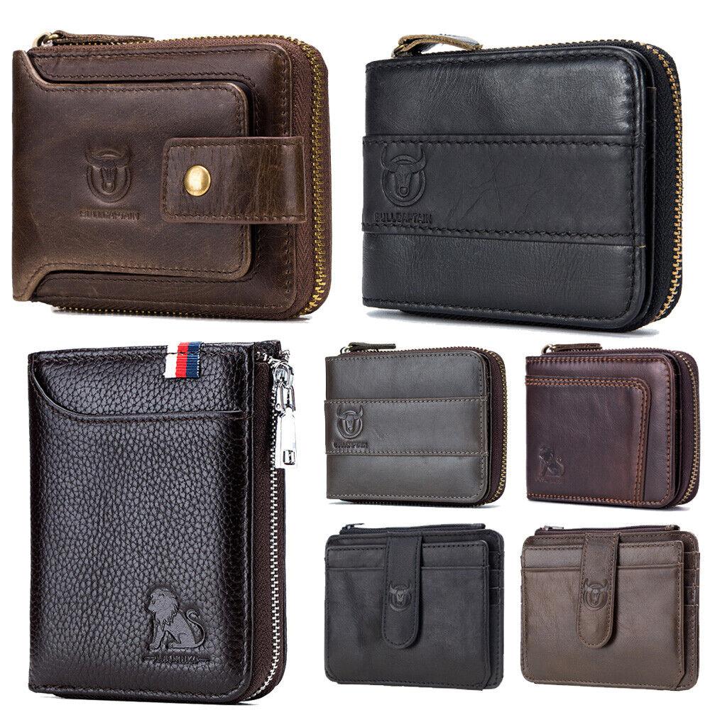 Men's Genuine Leather Wallet RFID Bifold ID Credit Card Holder Pocket Slim Case