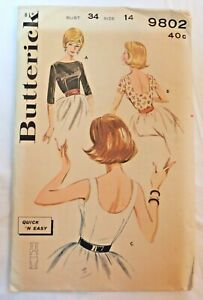 Vintage 1960s BUTTERICK Sewing Pattern Fitted Blouse Bateau Neckline Scoop Back