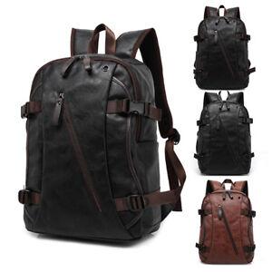 Mens Travel Backpack School Satchel Leather Laptop Camping Rucksack