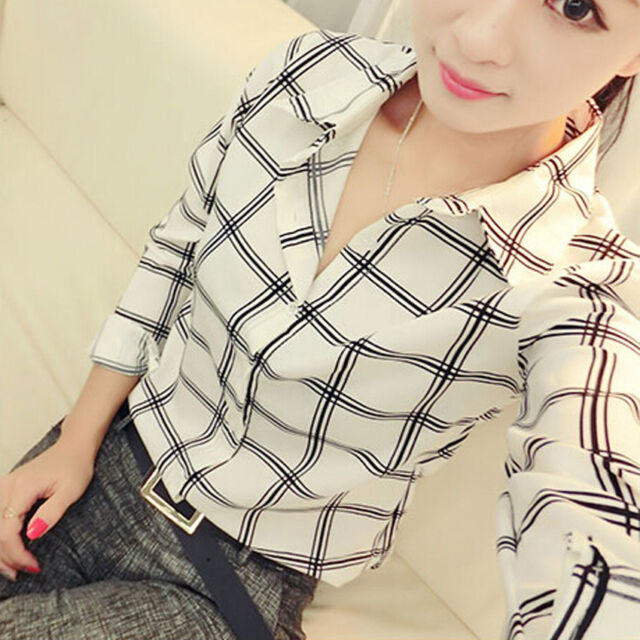 Women's Plaid Casual Shirt Checks Blouse Top Career Formal Button Down Shirts