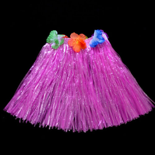 Kids Hawaiian Hula Grass Skirt Beach Dress Lei Flower Headband Girls Costume UK