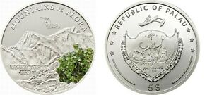 2011-Palau-Large-Proof-Color-Silver-5-Flowers-Mount-TYREE