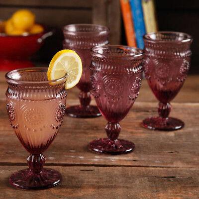 Footed Glass Goblets Red Set of 4 Plum Embossed Glassware Dishwasher Safe Dinner
