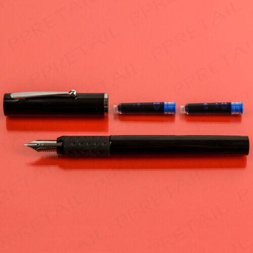 Fountain Pen Black Medium Writing NIB Pens Blue-Ink 2 Free Cartridge