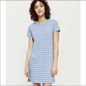 277034c810 LOFT Lou   Grey Women s Linen Blend Blue Striped Shirt Dress L ...