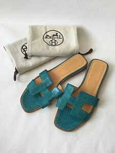 3c6aa90a39ef Image is loading Hermes-Oran-H-Exotic-Blue-Lizard-Sandals-Slippers-