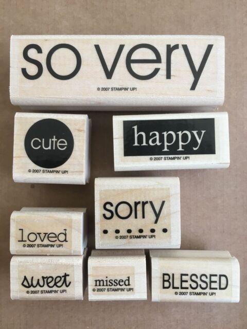 STAMPIN UP SO VERY SET OF 8 WOOD MOUNTED RUBBER STAMPS
