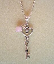 """Heart Key and Pink Quartz Bead 24"""" Chain Necklace in Gift Bag - Love"""