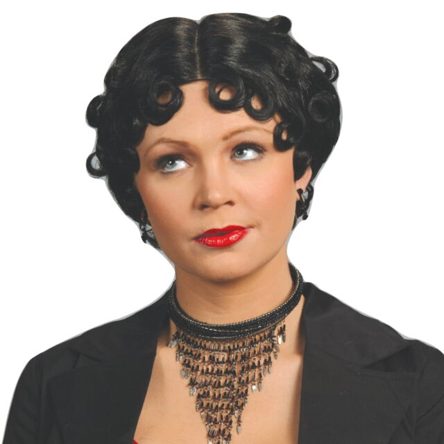 Womens Curly Black Betty Boop Style Wig