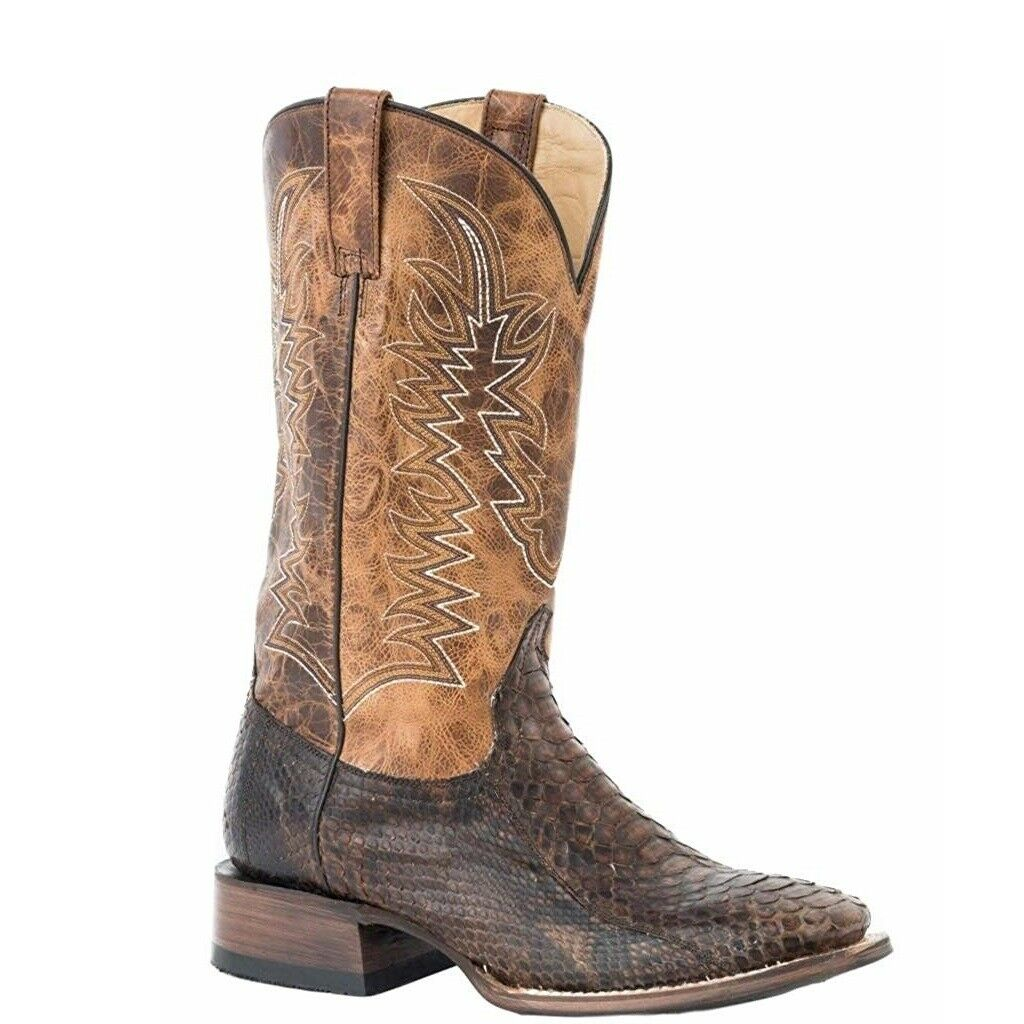 Stetson Men's Brown Waxy Python Belly Exotic Boots 12-020-8839-4027