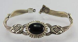 Vintage-Damen-Silberarmband-mit-Onyx-925er-Silber