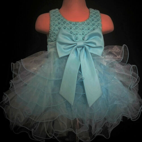 Mint Green Christening Flower Girl Bridesmaid Pageant Diamante Party Dress 0-6y