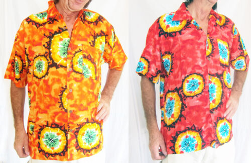 clair /& Voyant hawaïen CHEMISE POUR HOMMES ROUGE ORANGE Colorant Double duck