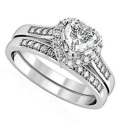 Heart Shape CZ Wedding & Engagement Rhodium EP Ladies Ring Set