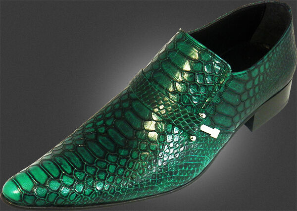 ORIGINAL CHELSY - ITALIENISCHE HANDARBEIT DESIGNER SCHUH ECHTLEDER KROKO green 43