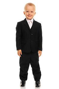 NEUF Noir 5 pièces garçon pour costume de mariage garçons d honneur ... 3937e75b599