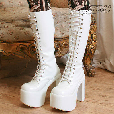 "Goth Punk Visual Kei Cosplay Nurse Guro Loli 6"" Chunky Heel Platform Knee White"