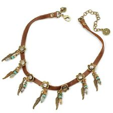 SWEET ROMANCE RETRO STYLE 1960'S FEATHERS & BEADS LEATHER CHOKER NECKLACE