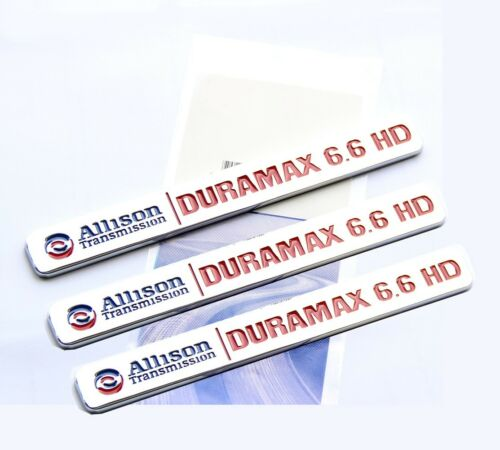 3x OEM ALLISON TRANSMISSION 6.6 HD VORTEC EMBLEMS BADGES GMC 2500HD 3500HD RD LU