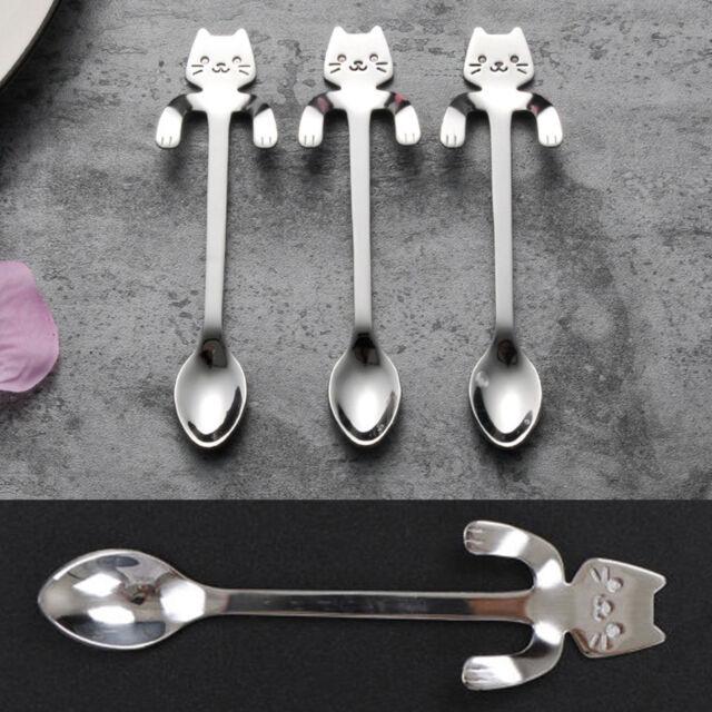 Stainless Steel Cartoon Silver Cat Tea Coffee Spoon Ice Cream Cutlery Tableware