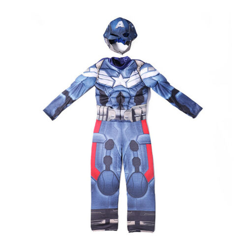 Kids Boys Captain America Jumpsuit Head Mask Fancy Cosplay Costume Bodysuit Set