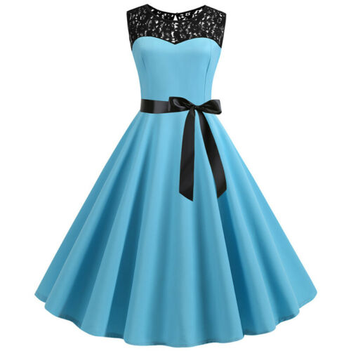 Damen Spitze Kleid Rockabilly Petticoat Retro 50er Vintage Party Business Kleid