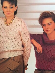 Ladies 1 X V Neck And 1 X Cowl Neck Jumper Knitting Pattern Ebay
