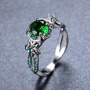 Sz5-10-Green-Emerald-Engagement-Ring-Womens-White-Gold-Filled-Crystal-Cross-Band