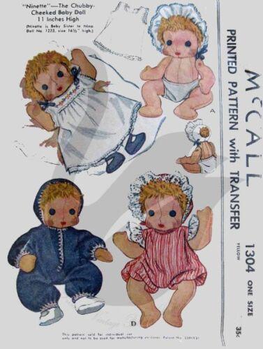 Riproduzione vintage Ninette /& NINA Chubby GUANCE cucito PATTERN m1304 /& M1225