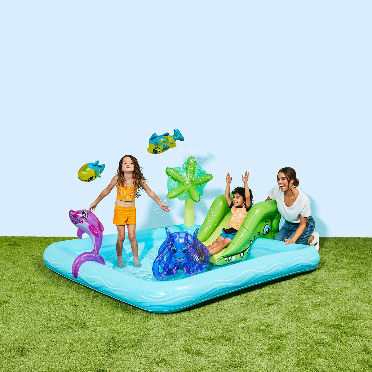 Inflatable Aquarium Play Pool,Removable slide with tie ropes & built-in grommets