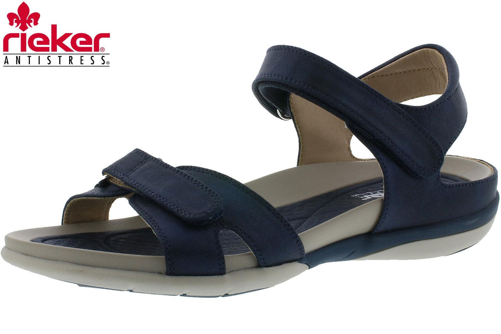Rieker Damen Komfort Sandalee Blau Trekking Outdoor Schuhe V9462-14 NEU