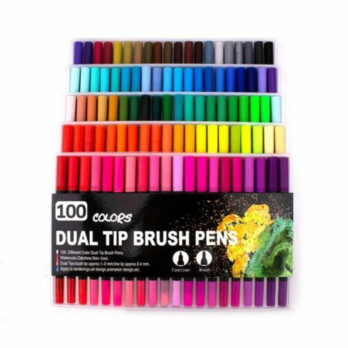 Watercolor Pen Brush Markers Art Markers Dual Tip Fineliner Drawing For Coloring