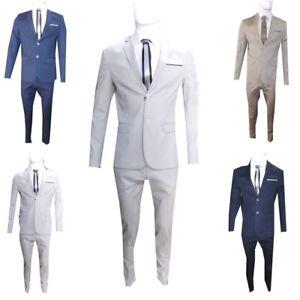 Vestiti Cerimonia Uomo Estivi.Abito Uomo Slim Fit Elasticizzato Completo Casual Vestito Cotone