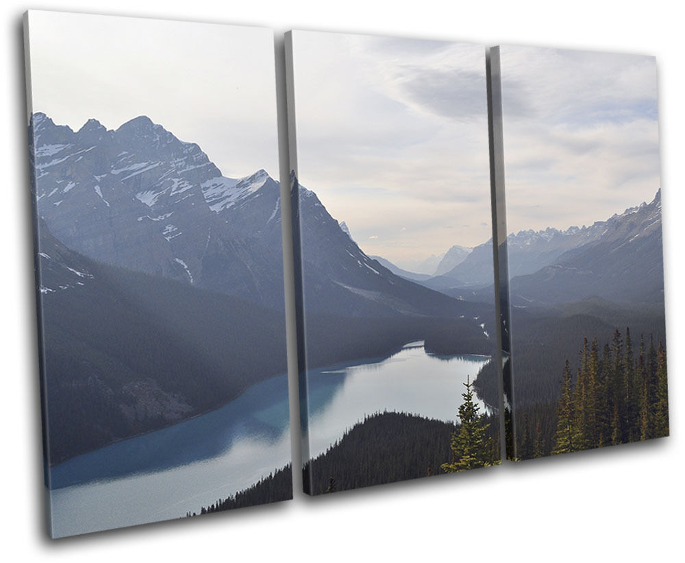 Mountain Lake Nature Landscapes TREBLE TREBLE TREBLE TELA parete arte foto stampa 5e470a