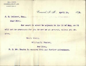 1893 Concord New Hampshire (NH) Letter William L. Foster Counsellor-At-Law