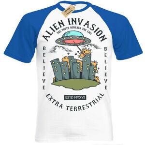 Alien-Attack-T-Shirt-Invasione-UFO-Extraterrestre-et-Manica-Corta-Baseball