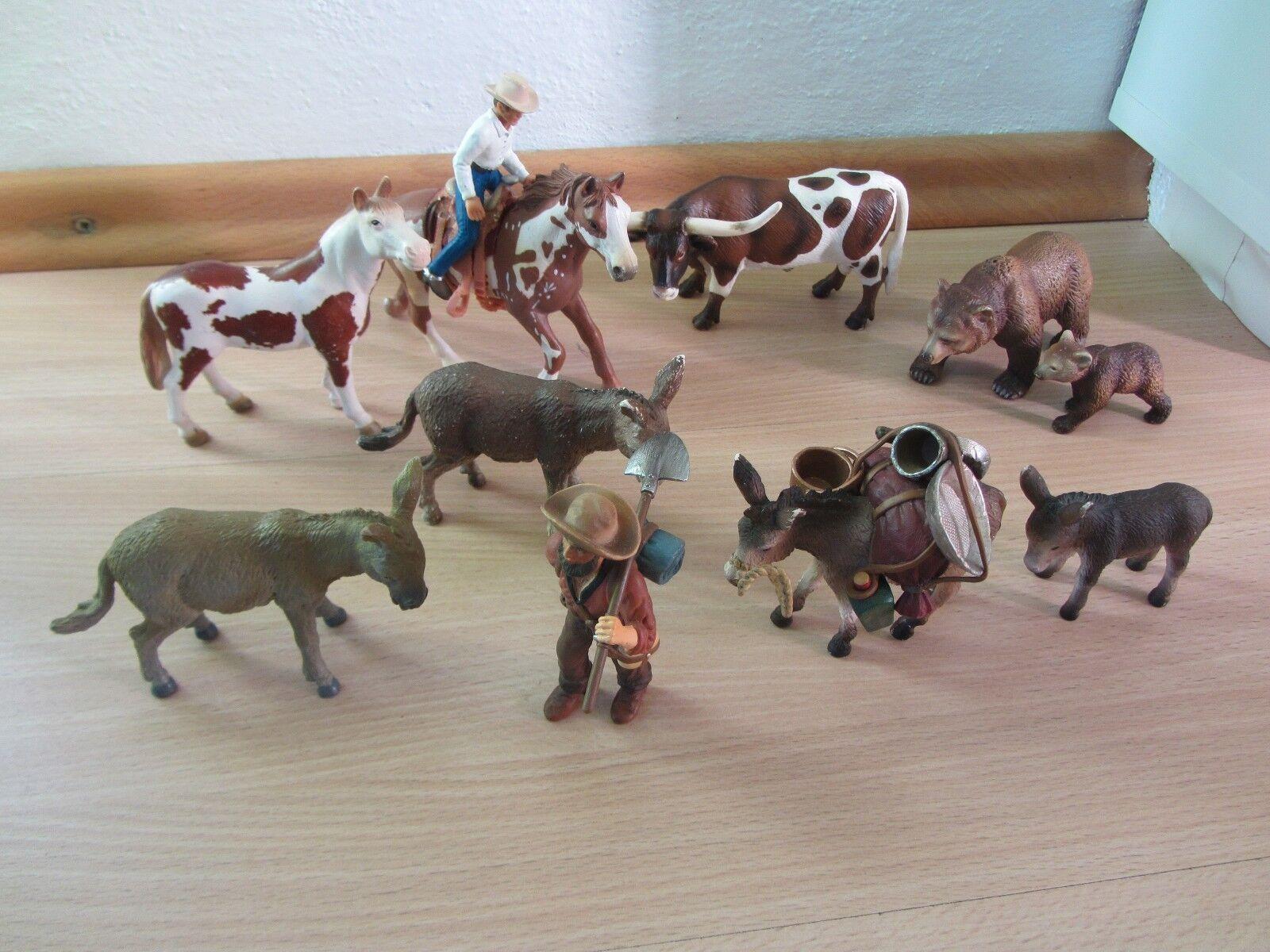 Schleich - Goldgräber + Esel + Cowboy, Pferd Pinto, Texas Longhorn, Bär Grizzly