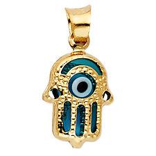14K Yellow Gold Evil Eye Hamsa Pendant Charm