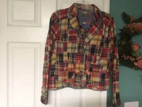 LL Bean Women's Blazer Patchwork Cotton Jacket Mul