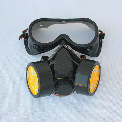Industrial Gas Chemical Anti-Dust Paint Respirator Mask + Eye Glasses Goggles