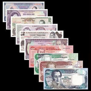 Colombia Set 10 PCS, 1 2 5 10 20 50 100 200 500 1000 Pesos, UNC