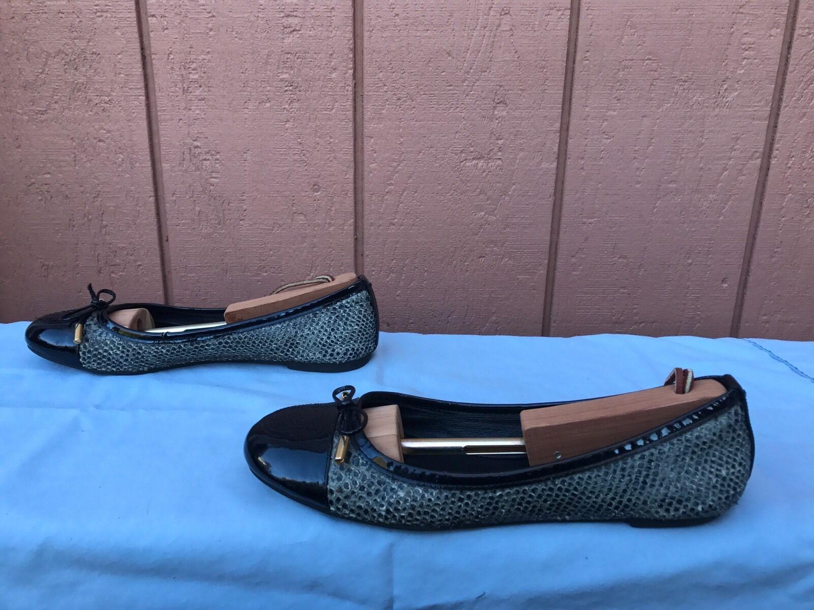 Tory Burch Toe Silver Snake Skin Cap Toe Burch Ballet Flats Schuhes Leder US 8 M bba4ec