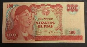 Asia 1968 100 Rupiah Zfh070050 Circulated Condition