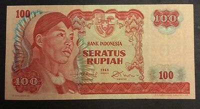 Asia Devoted 1968 100 Rupiah Vgm060257 Circulated Condition