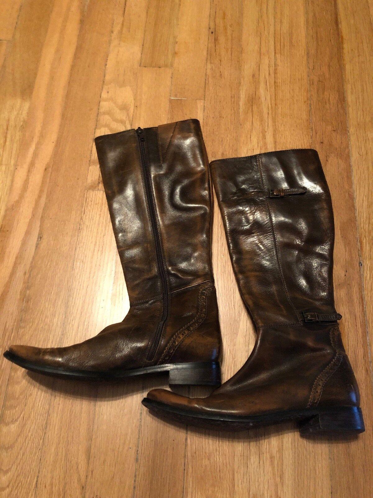 Valerie Stevens Val Flex Brown Leather Below Knee Boots Size 6 Women's