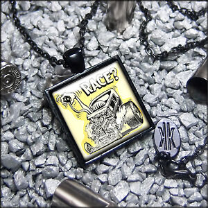 Rockabilly-Rat-Fink-Hot-Rod-Race-Rat-Rod-Kulture-Black-Glass-Pendant-Necklace