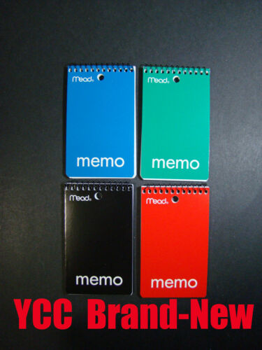 open end 4 pk Assorted cover color ruled 60s/' 3x5 in Mead Spiral Memo book