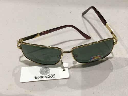 men black lens polarised sunglasses with gold frame brand new
